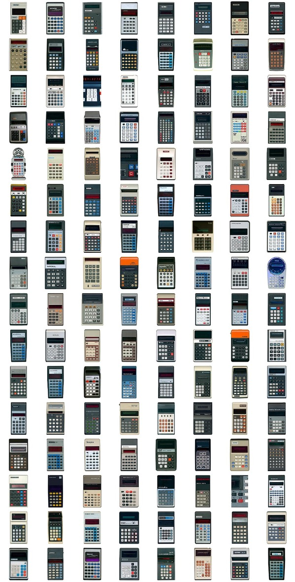 128 vintage pocket calculators